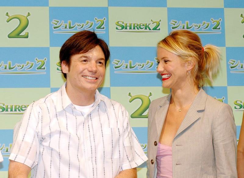Mike Myers e Cameron Diaz alla premiere di Shrek 2 a Tokyo nel 2004