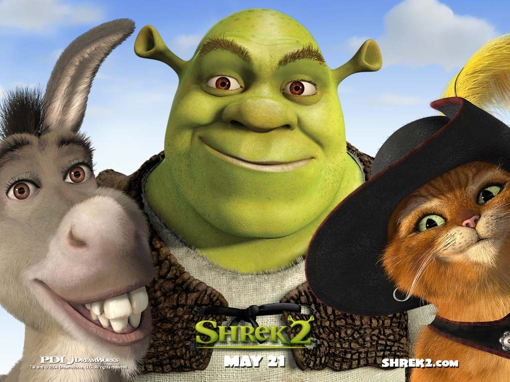 Un wallpaper dei personaggi principali del film Shrek 2