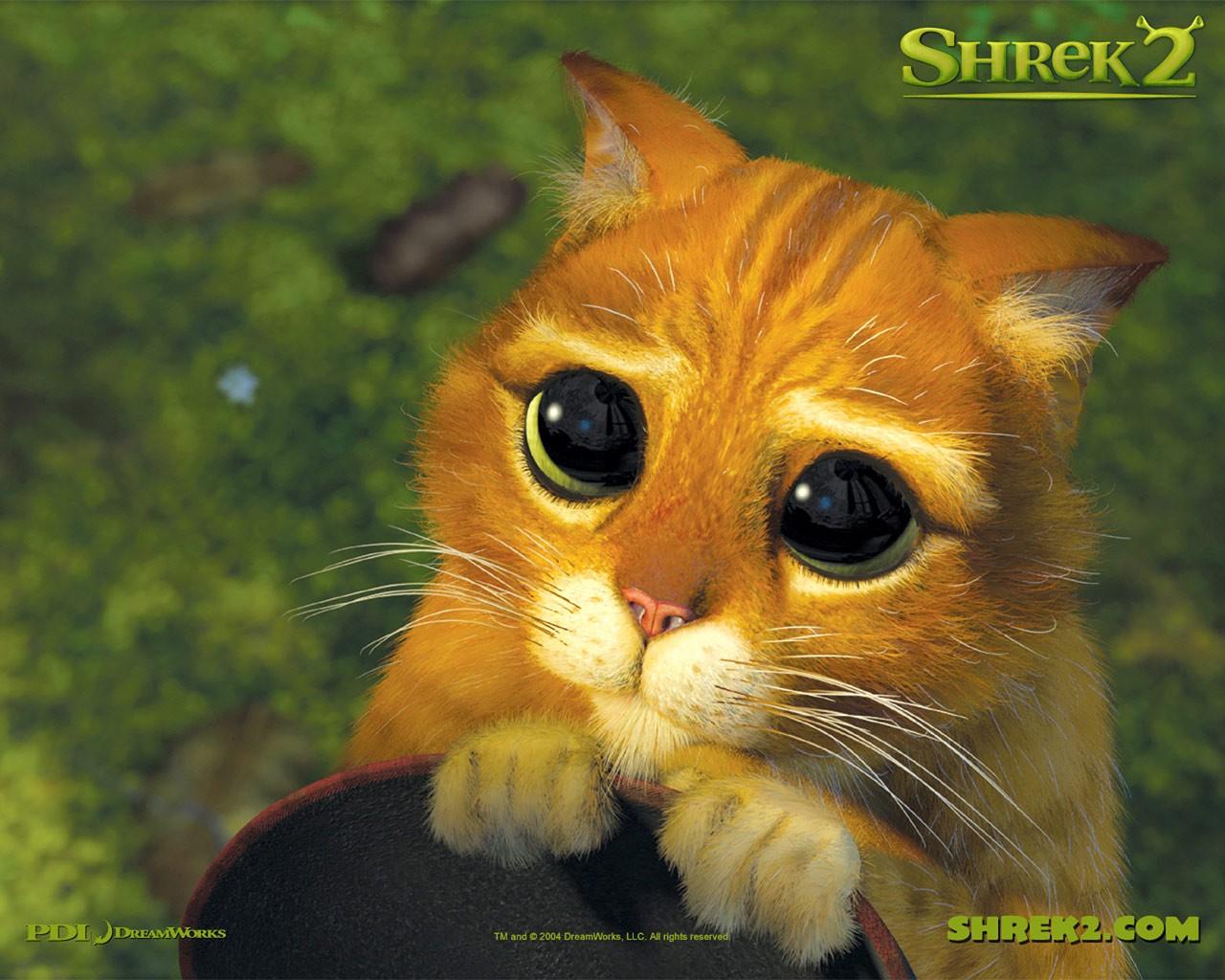 Un wallpaper del Gatto con gli stivali per il film d'animazione Shrek 2
