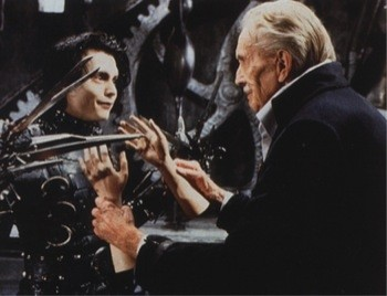 Johnny Depp con Vincent Price nel film Edward mani di forbice