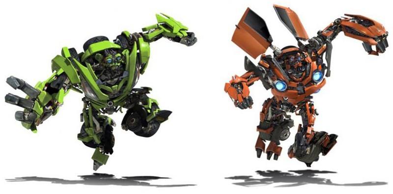 Immagine dei gemelli Kid e Mudflap in corsa per il film Transformers: Revenge of the Fallen