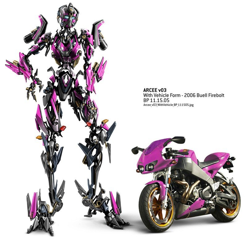Immagine promo di Arcee, autobot femmina, motocicletta per il film Transformers: Revenge of the Fallen