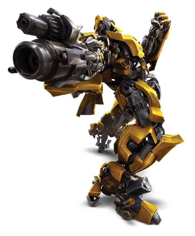Un'immagine di Bumblebee in posizione d'attacco nel film Transformers - La vendetta del caduto