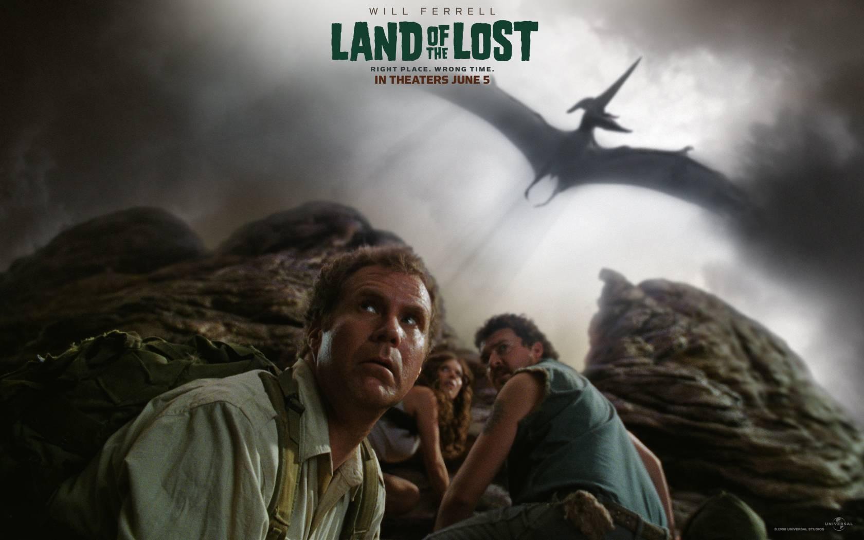 Un wallpaper del film Land of the Lost con Will Ferrell, Anna Friel e Danny McBride