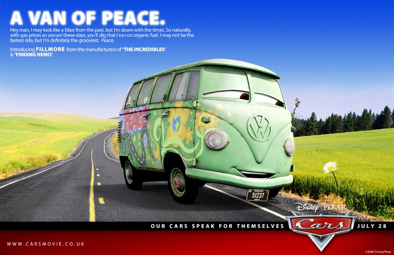 Un'immagine promozionale con Fillmore per Cars