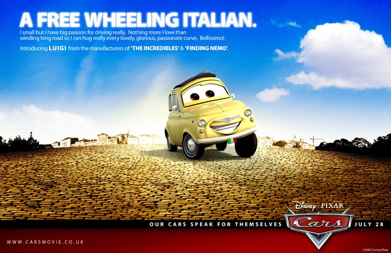 Un'immagine promozionale con Luigi per Cars