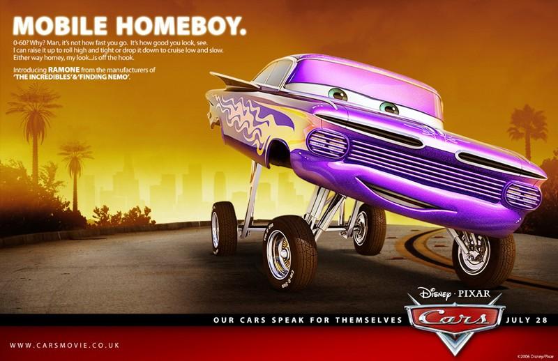 Un'immagine promozionale con Ramone per Cars