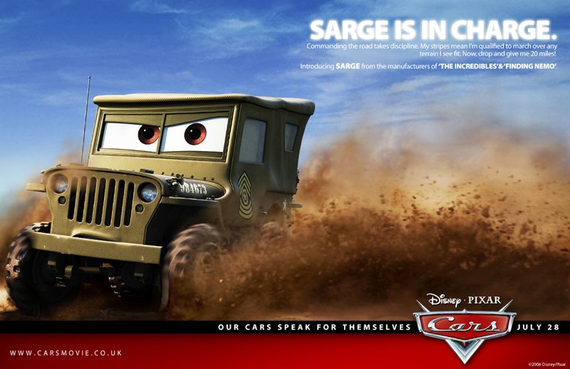 Un'immagine promozionale con Sarge per Cars