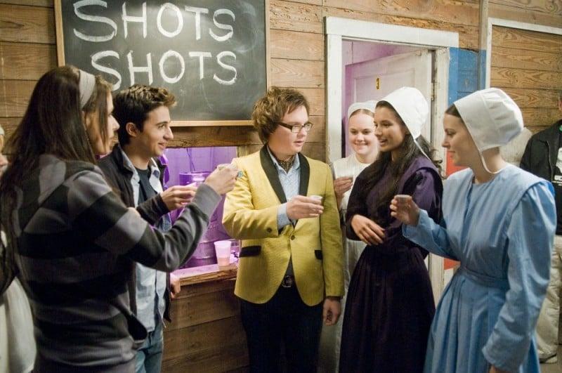 Amanda Crew, Josh Zuckerman e Clark Duke in un'immagine del film Sex Movie in 4D
