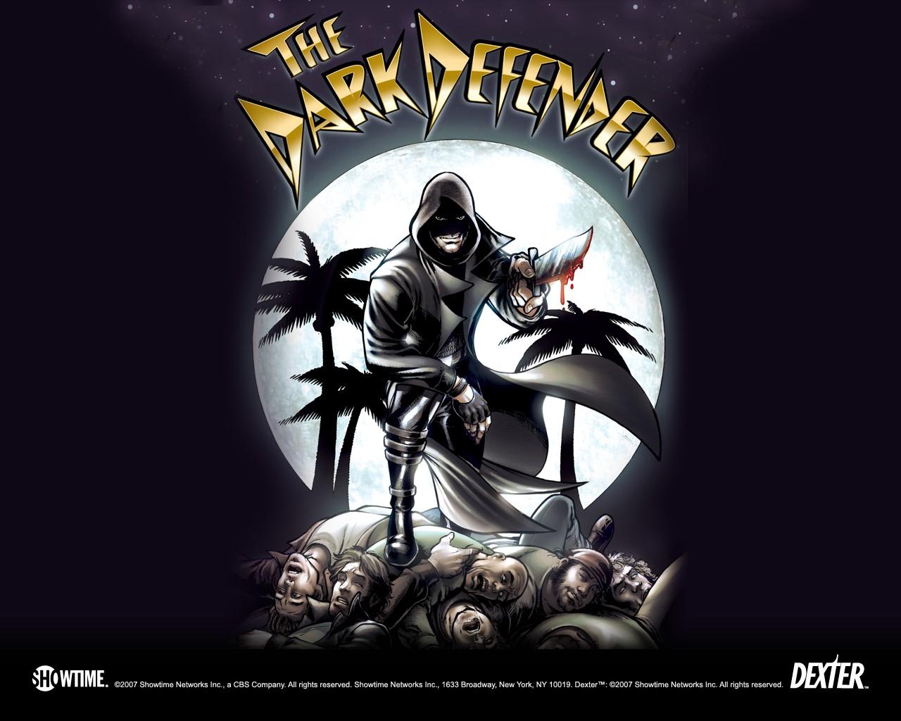 Un wallpaper di 'Dark Defender' nella stagione 2 di Dexter