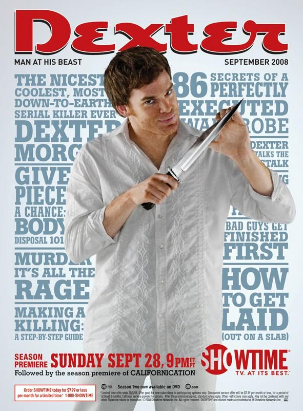 Un poster pubblicitario, con lo stile della rivista Esquire, per la season 3 di Dexter