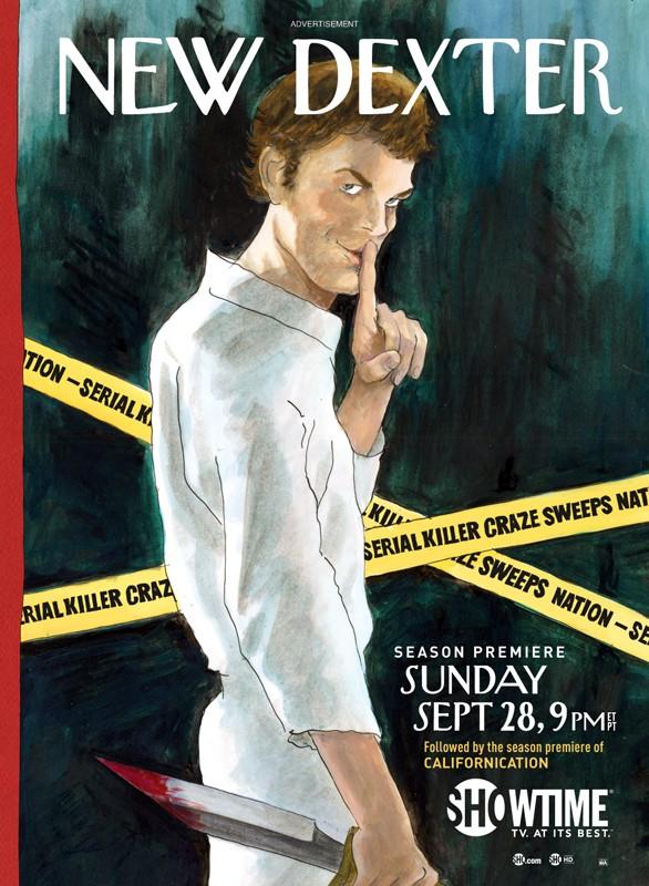Un poster pubblicitario, con lo stile della rivista Newyorker, per la season 3 di Dexter