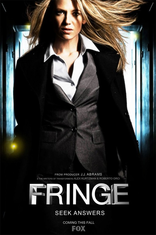 Una locandina della serie Fringe, con Anna Torv