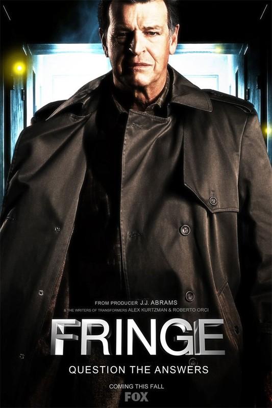 Una locandina della serie Fringe, con John Noble