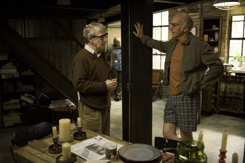 Woody Allen e Larry David sul set del film Whatever Works