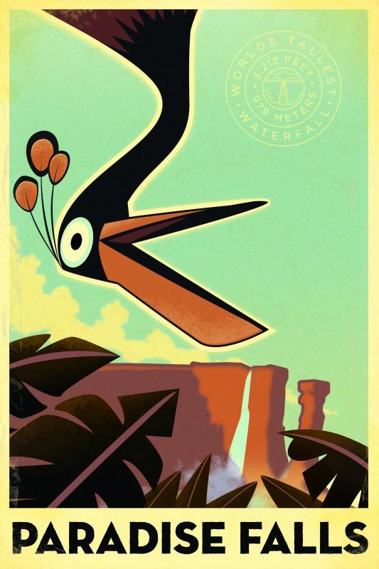 Uno degli otto splendidi poster 'vintage' di Up, con 'Paradise Falls'