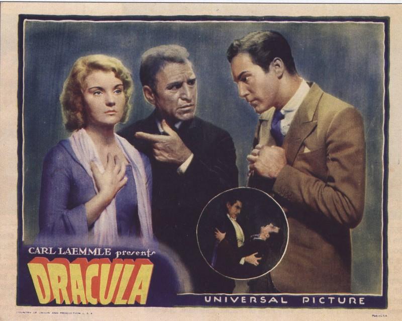 Edward Van Sloan con Helen Chandler e David Manners in una lobby card a colori del film Dracula