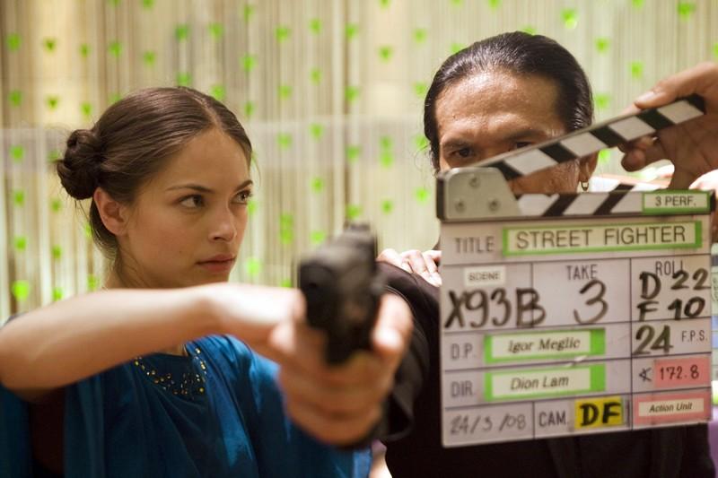 Kristin Kreuk e Robin Shou durante il ciak sul set del film Street Fighter: The Legend of Chun-Li
