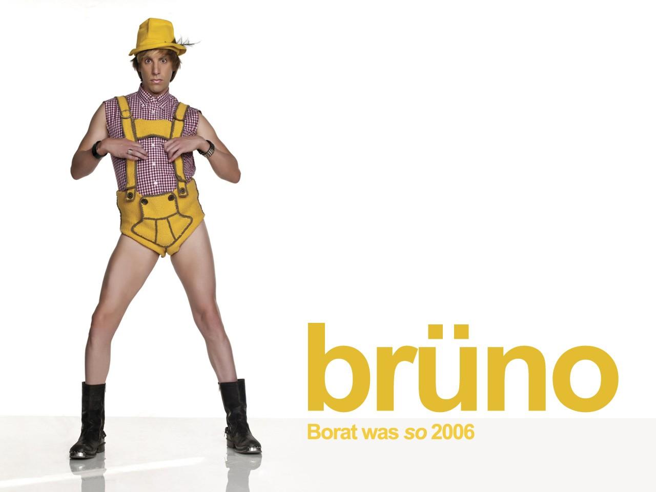 Wallpaper di Sacha Baron Cohen nei panni di Brüno con la headline del film