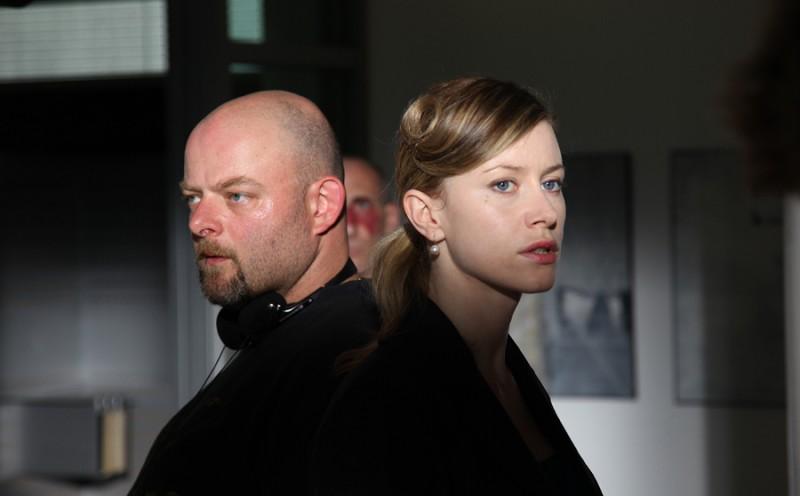 Erik Bernasconi con Giorgia Wurth sul set del film Sinestesia.