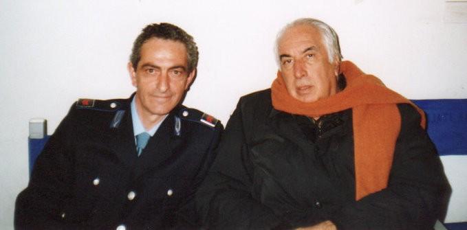 Nicola Natalia con Vittorio Sindoni sul set della fiction Il Capitano 2, diretta dallo stesso Sindoni.