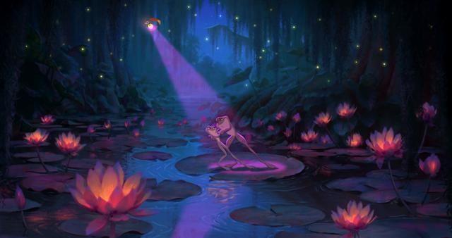 Una romantica immagine del film d'animazione La principessa il ranocchio