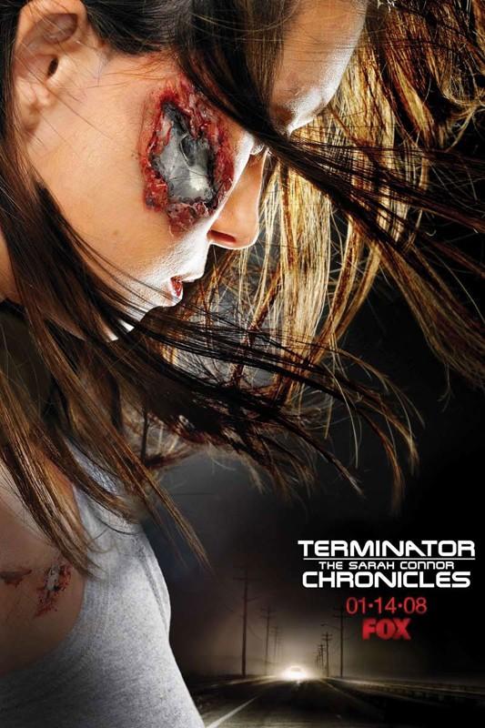 Un manifesto pubblicitario per la serie Terminator: The Sarah Connor Chronicles, con Summer Glau