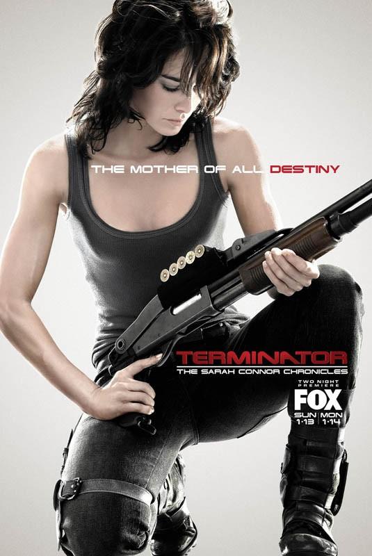 Un manifesto pubblicitario per Terminator: The Sarah Connor Chronicles, con Lena Headey