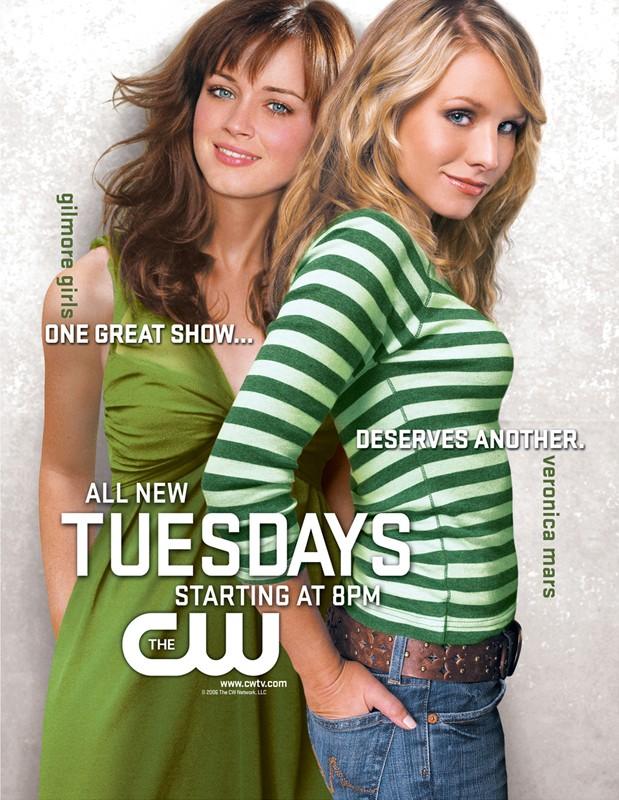 Un doppio poster pubblicitario dei telefilm Veronica Mars e Gilmore Girls