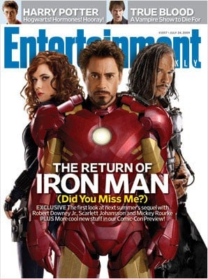 Mickey Rourke, Scarlett Johansson e Robert Downey jr. sulla cover di Entertainment Weekly dedicata a Iron Man 2