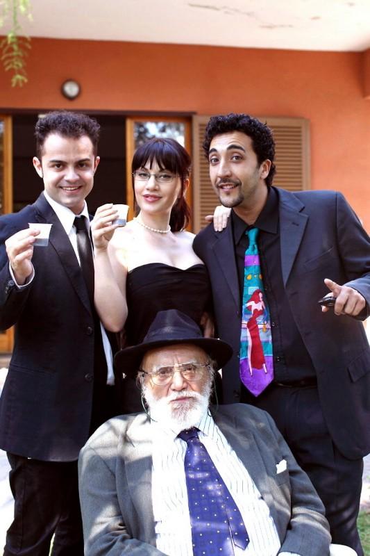 Andrea De Rosa, Crisula Stafida, Renato Solpietro e Remo Remotti sul set del film Ganja Fiction di Mirko Virgili (Foto di Thomas Marroni)