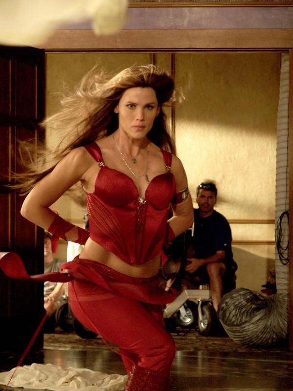 Una scena d'azione con Jennifer Garner sul set del film Elektra
