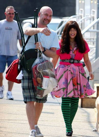 America Ferrera sul set della stagione 4 di Ugly Betty