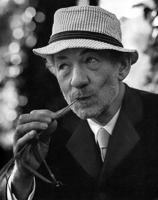 Un ritratto in bianco e nero di Ian McKellen con spiga di grano