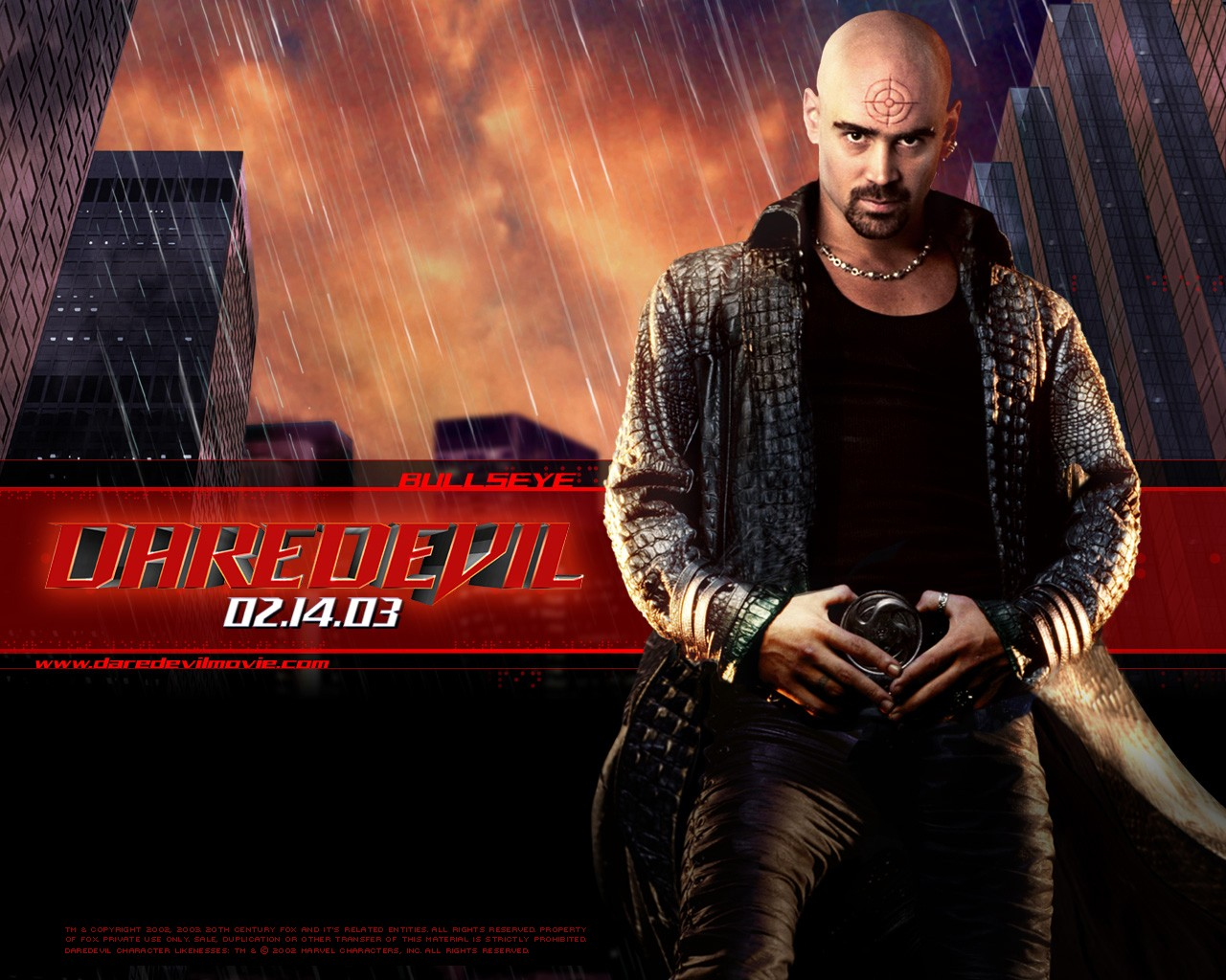 Un wallpaper ufficiale di Bullseye (Colin Farrell) per il film Daredevil