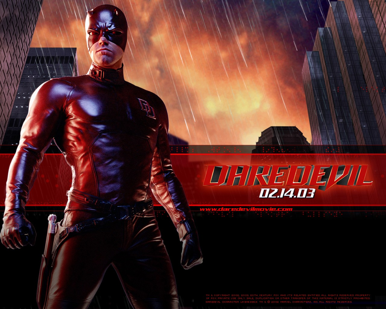 Un wallpaper ufficiale di Daredevil (Ben Affleck) per il film Daredevil