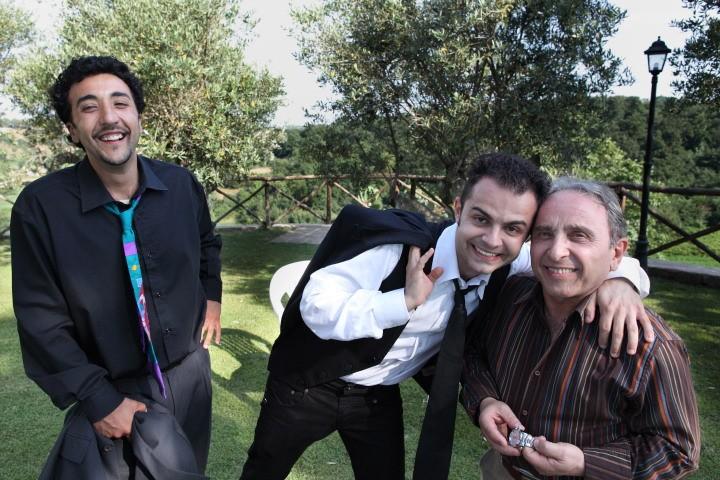 Andrea De Rosa, Ernesto Mahieux e Renato Solpietro sul set di Ganja Fiction