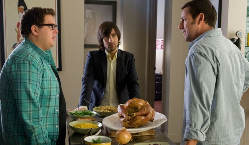 Jonah Hill, Jason Schwartzman e Adam Sandler in un'immagine del film Funny People