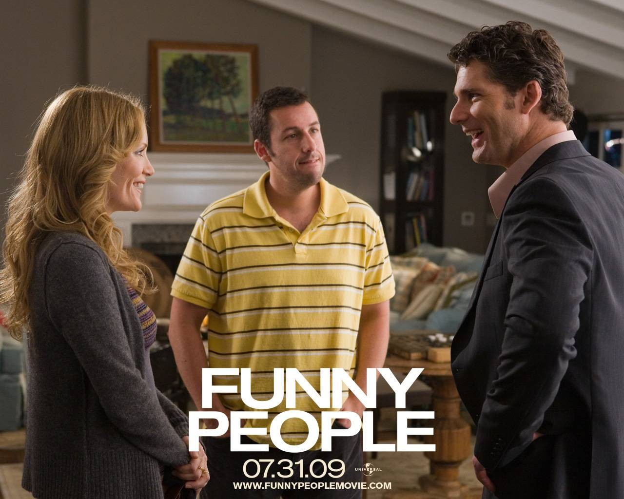 Wallpaper del film Funny People con Leslie Mann, Adam Sandler ed Eric Bana