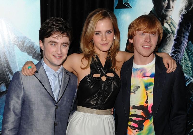 Daniel Radcliffe, Emma Watson e Rupert Grint durante la premiere di Harry Potter e il Principe Mezzosangue, a New York