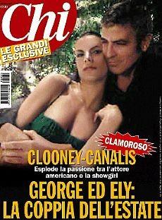 Elisabetta Canalis e George Clooney sulla controversa copertina di Chi di luglio 2009. Foto ritoccate o no?