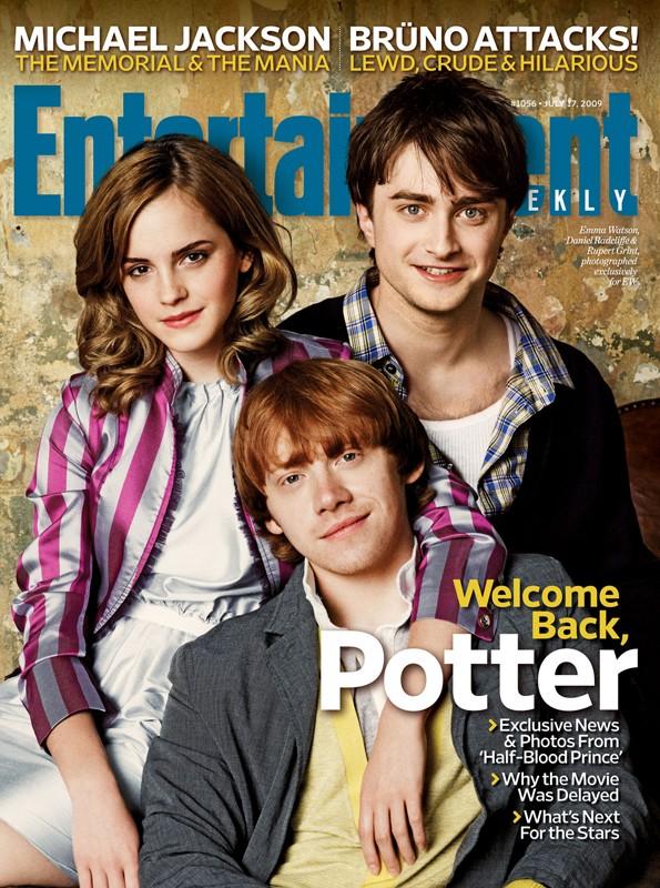 Il trio di Harry Potter e il principe mezzosangue sulla copertina della rivista Entertainment di Luglio 2009