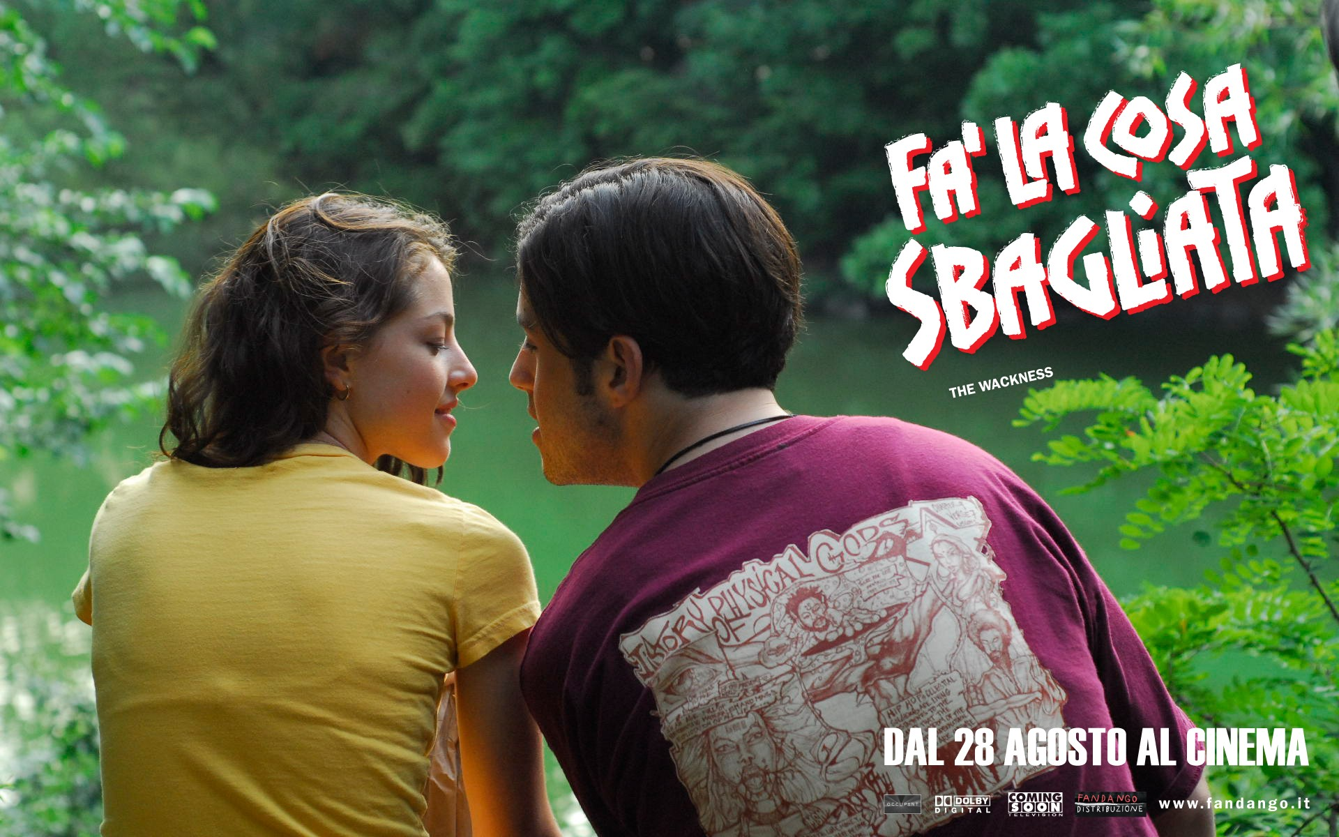 Olivia Thirlby e Josh Peck in un romantico wallpaper del film Fa' la cosa sbagliata - The Wackness