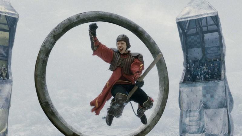 Rupert Grint durante una partita di Quidditch in un'immagine del film Harry Potter e il principe mezzosangue