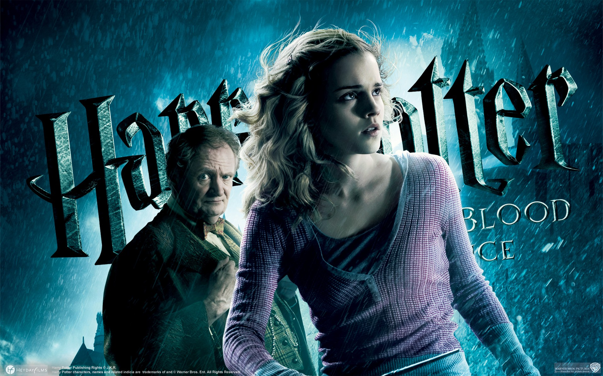 Un wallpaper di Hermione Granger e Horace Lumacorno per il film Harry Potter and the Half-Blood Prince