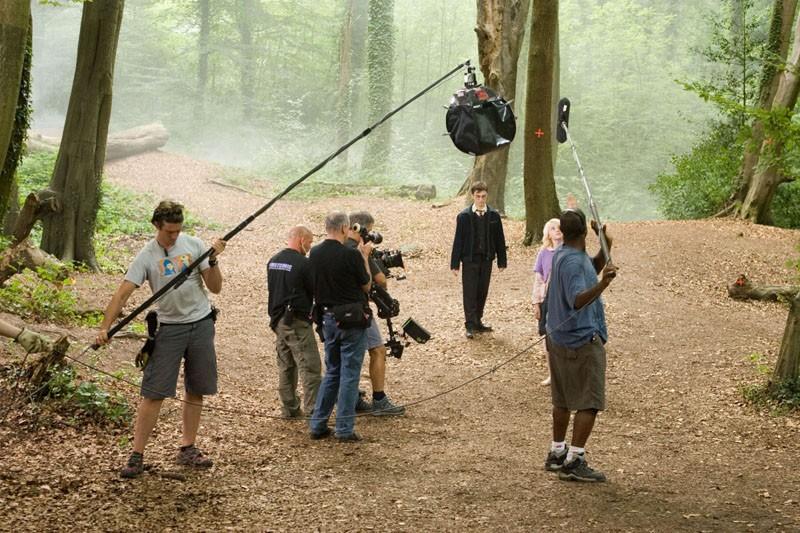 Daniel Radcliffe e Evanna Lynch durante un ciak del film Harry Potter and the Order of the Phoenix