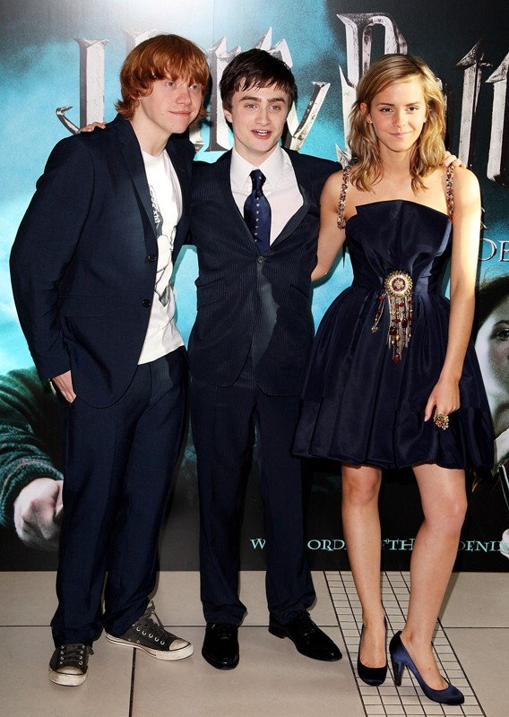 Rupert Grint, Daniel Radcliffe e Emma Watson alla premiere europea del film Harry Potter e l'ordine della Fenice