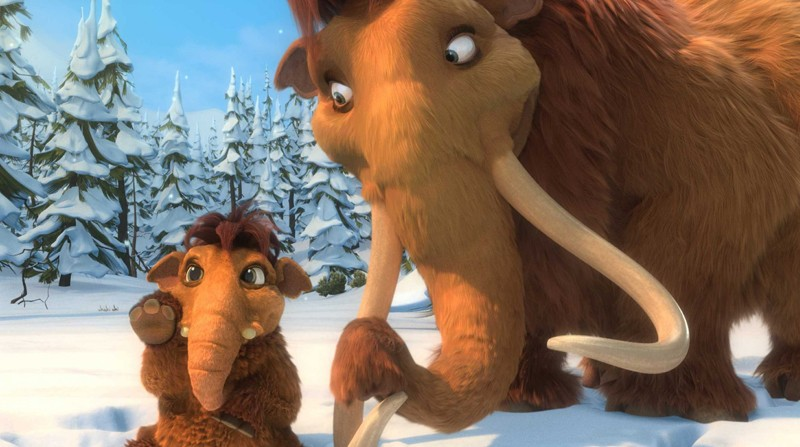 Elly e il cucciolo di mammuth in una scena del film 'L'era glaciale 3 - L'alba dei dinosauri'