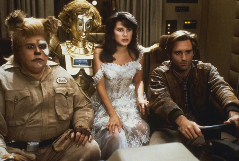 John Candy, Daphne Zuniga e Bill Pullman in una scena di Spaceballs