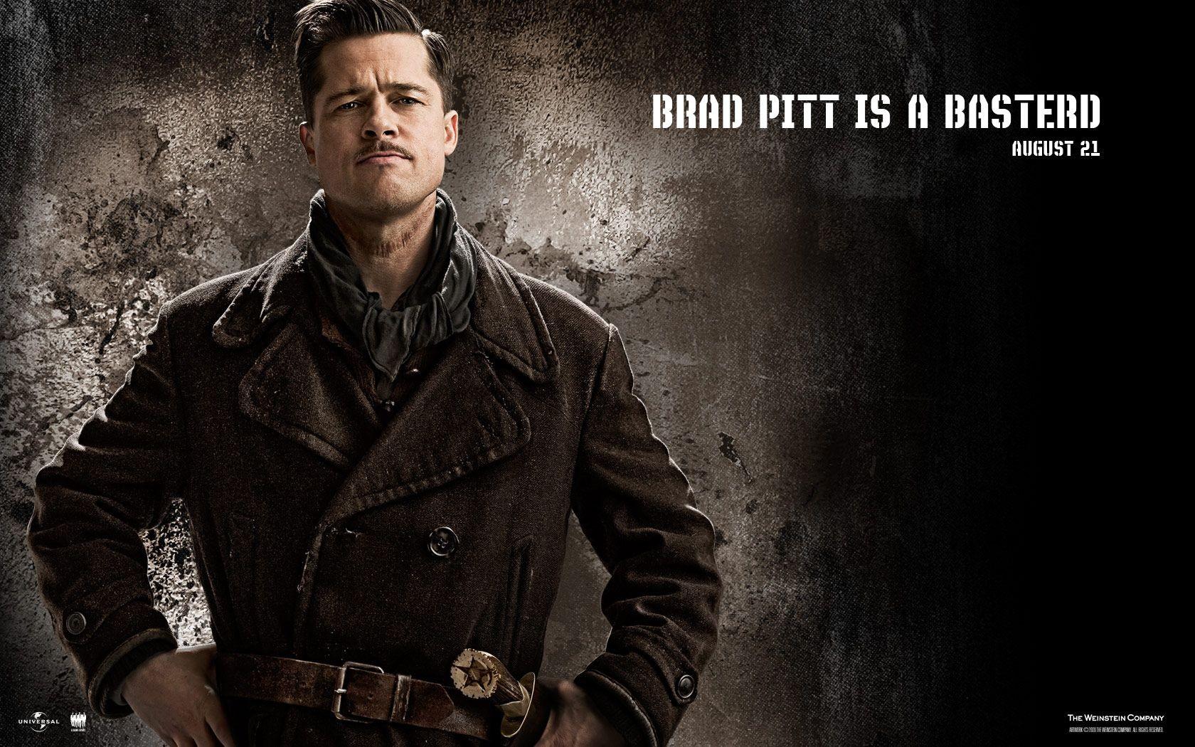 Un wallpaper del film Bastardi senza gloria con Brad Pitt